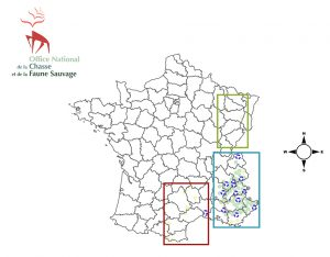 Carte des zones de présence du loup en France.