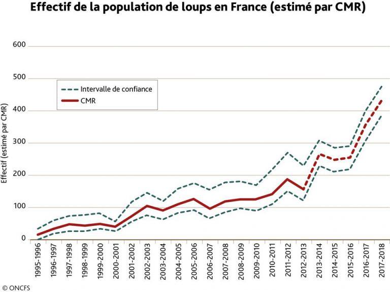 Effectif de la population de loups en France (estimé par CMR). ONCFS.
